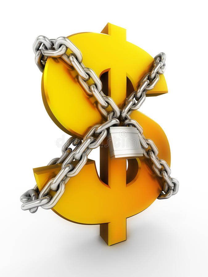 Secure of dollar. Sign of dollar chain and padlock