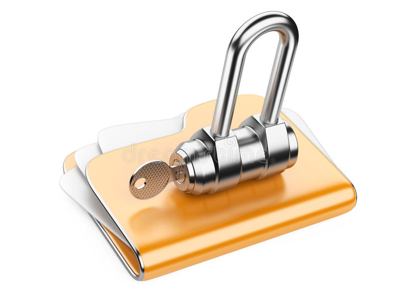 Secure files. Folder with Key. royalty free illustration