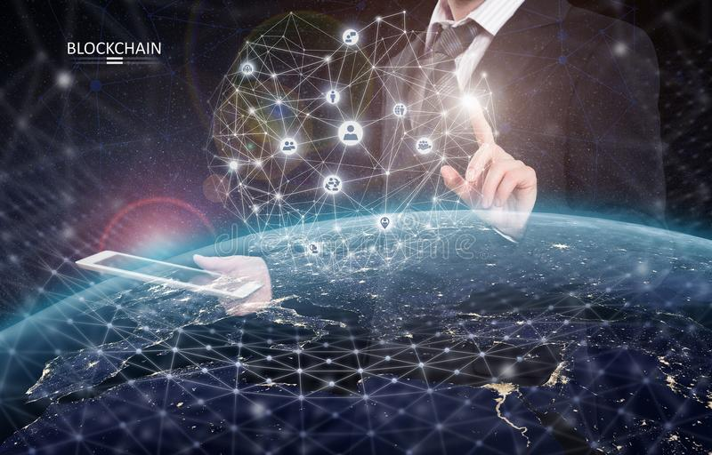 Global financial network. Blockchain encryption concept. 3D rendering elements of this image furnished by NASA royalty free stock photography