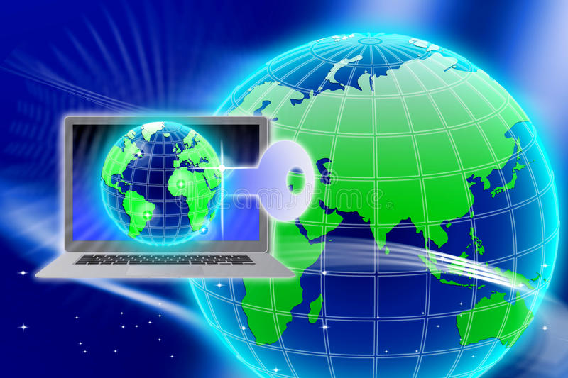 Secure Global Information Technology key. An image for the concept of Secure Global Information Technology key. This computer generated graphic shows a circular royalty free illustration