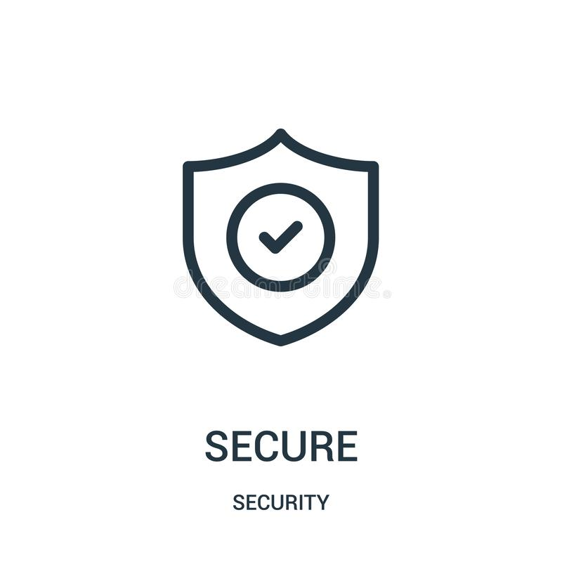 Free Secure Icon Vector From Security Collection. Thin Line Secure Outline Icon Vector Illustration Stock Photos - 143263593
