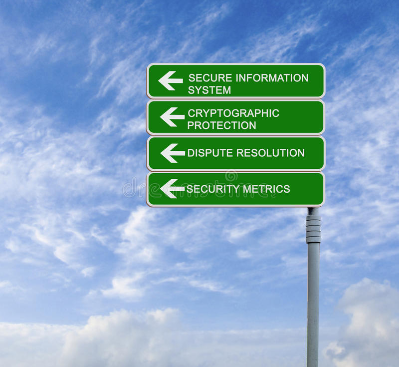 Secure Information System. Road sign to Secure Information System royalty free stock photo