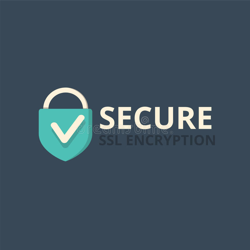 Secure internet connection icon vector illustration isolated on dark background stock illustration