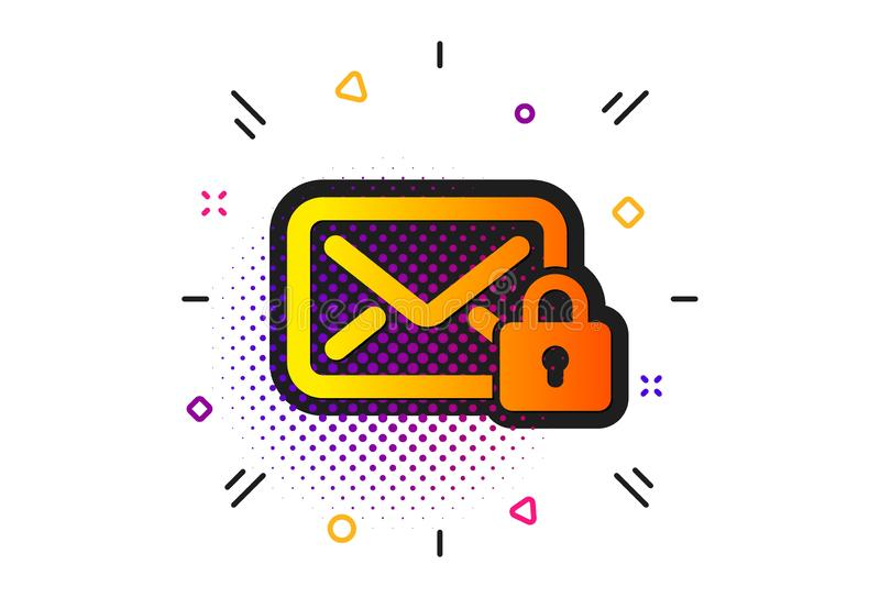 Secure Mail icon. Private Message correspondence sign. Vector. Private Message correspondence sign. Halftone circles pattern. Secure Mail icon. E-mail symbol vector illustration