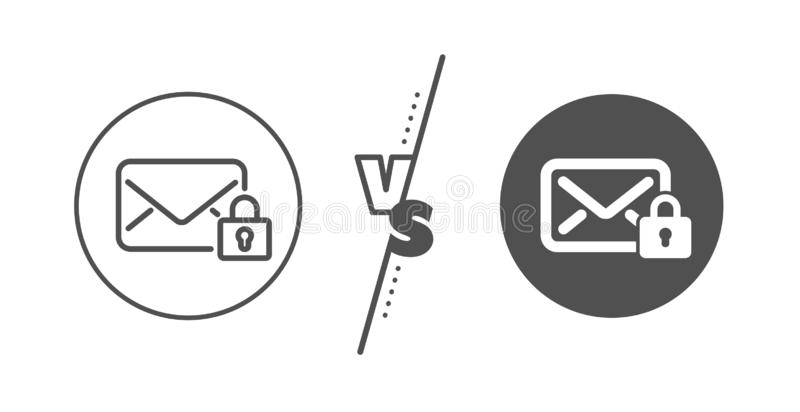 Secure Mail line icon. Private Message correspondence sign. Vector. Private Message correspondence sign. Versus concept. Secure Mail line icon. E-mail symbol vector illustration