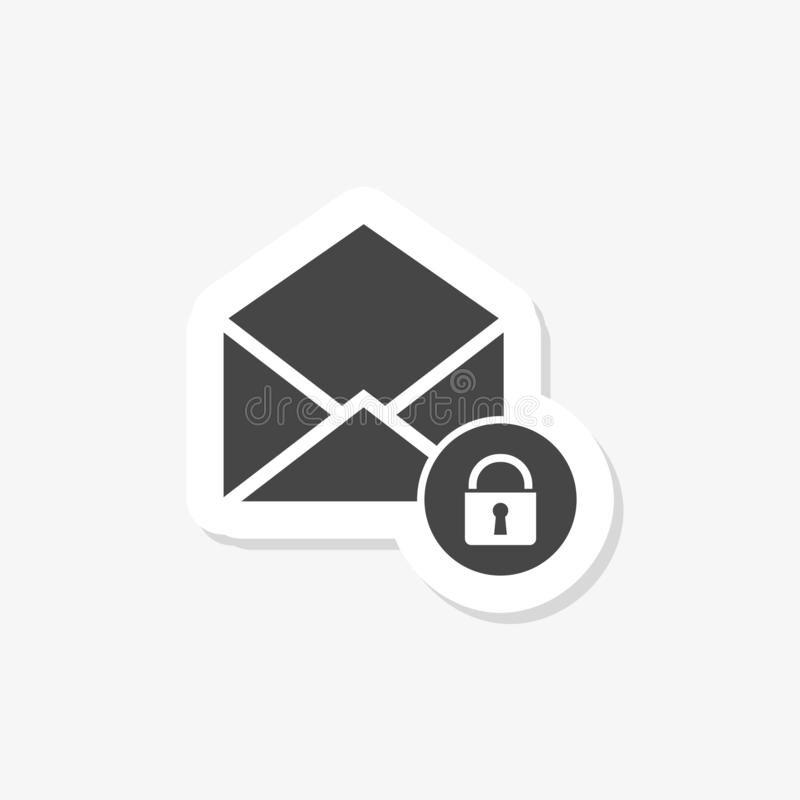 Secure mail sticker. Mailing envelope locked with padlock. On white royalty free illustration