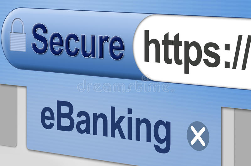 Secure Online Banking - eBanking. Secure web site connection for online Banking, or internet based, banking related business transactions. Browser address bar