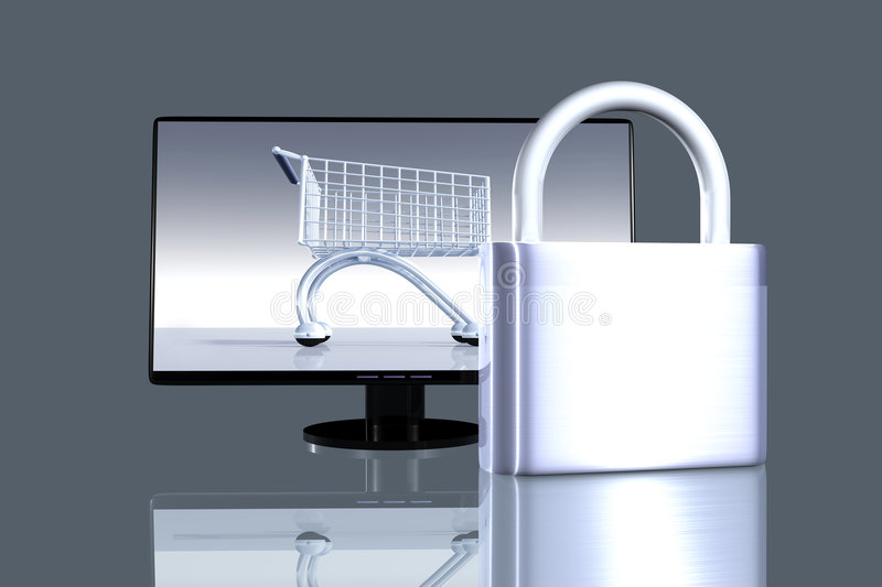 Secure online Shopping stock illustration