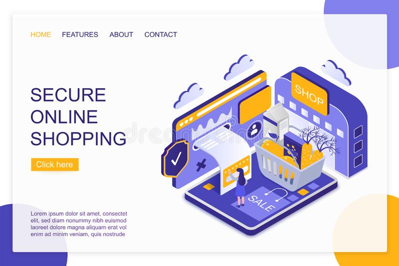 Secure online shopping isometric landing page vector template stock illustration