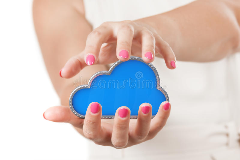 Secure Online Storage Concept. Two Woman Hands Protecting Cloud royalty free stock photography