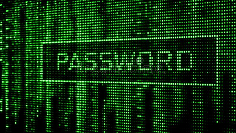 Secure password. Cyber attack. Hacking. Digital background green matrix. Binary computer code. 3d rendering stock illustration