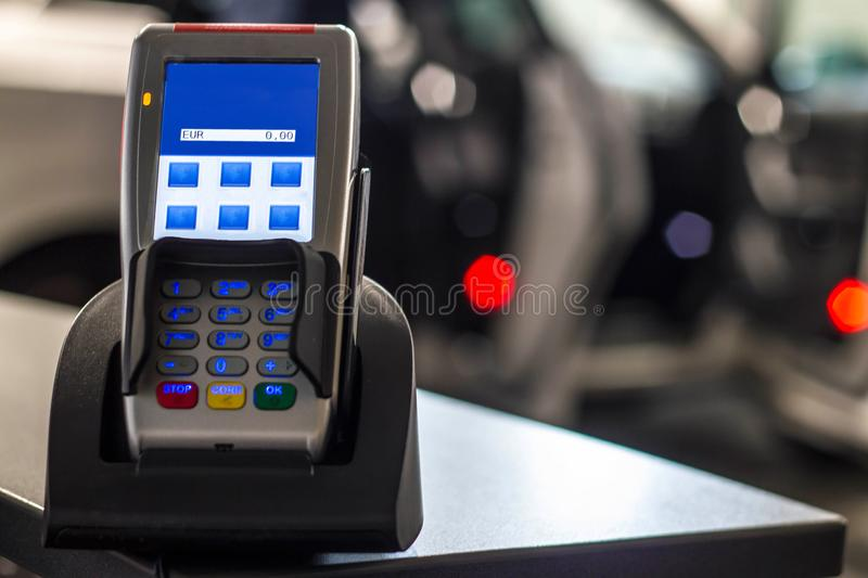 Secure payment method with blue display royalty free stock image
