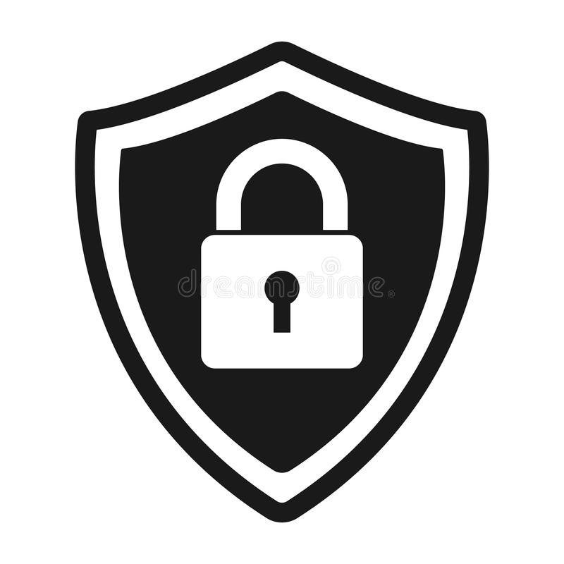 Secure protection abstract logo. vector shield lock Icon stock illustration