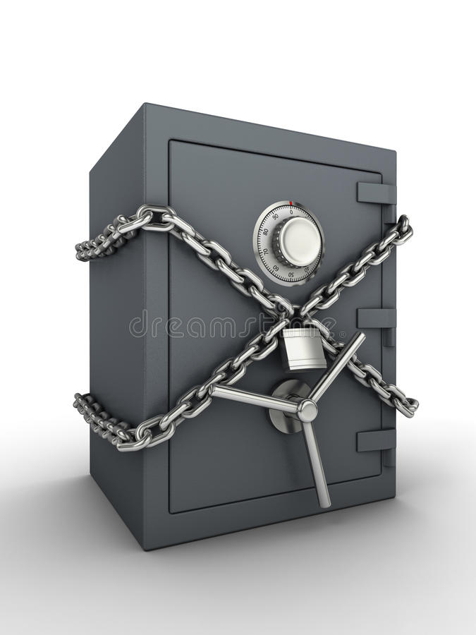 Secure safe. Bank safe with chain and padlock