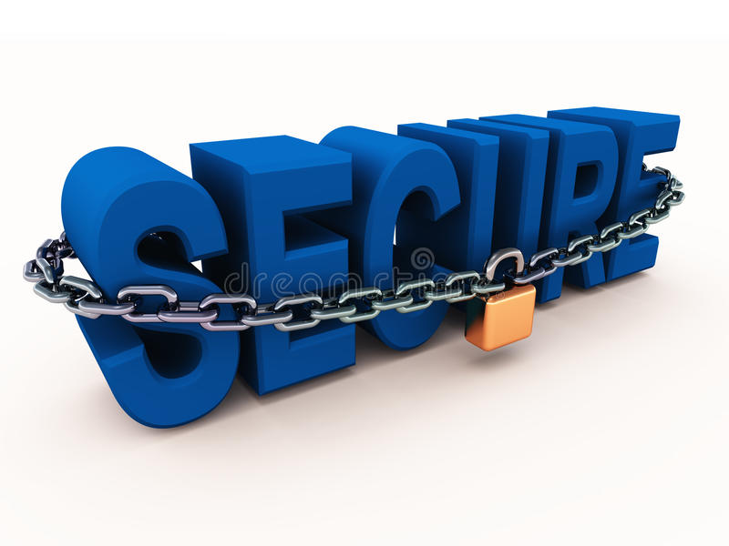 Secure text with chains and lock stock illustration