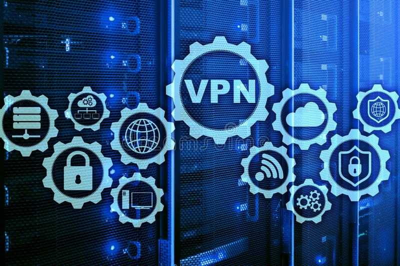 Secure VPN Connection. Virtual Private Network or Internet Security Concept.  royalty free illustration