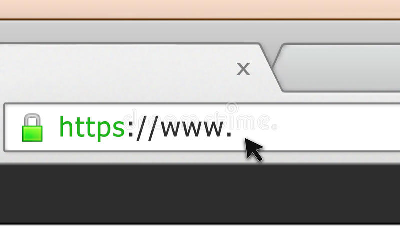 Secure web site browser address bar. Illustration of a secure web browser address bar with www. and a cursor pointing at the blank space vector illustration
