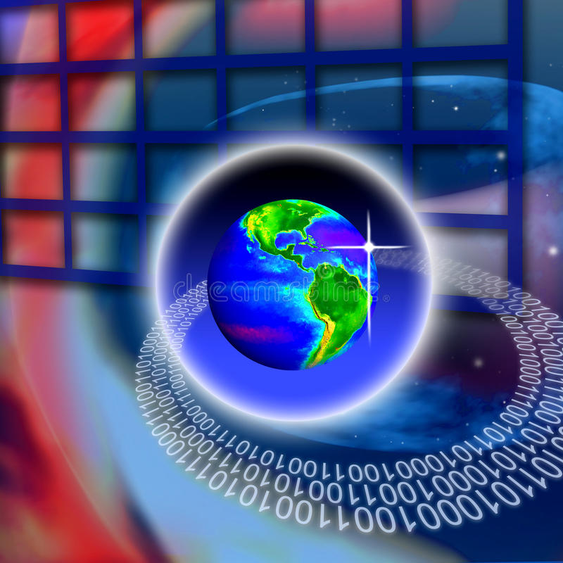 Secure World Global Technology. An image for the concept of Secure Wireless World Global Technology. This computer generated graphic shows a views of the planet vector illustration