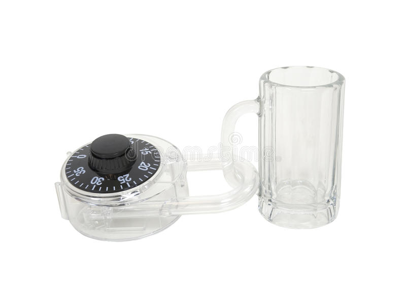 Secure your luxuries. Shown by a large padlock on a glass beer mug - path included stock photos