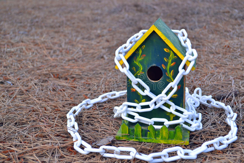 Secured birdhouse royalty free stock photos