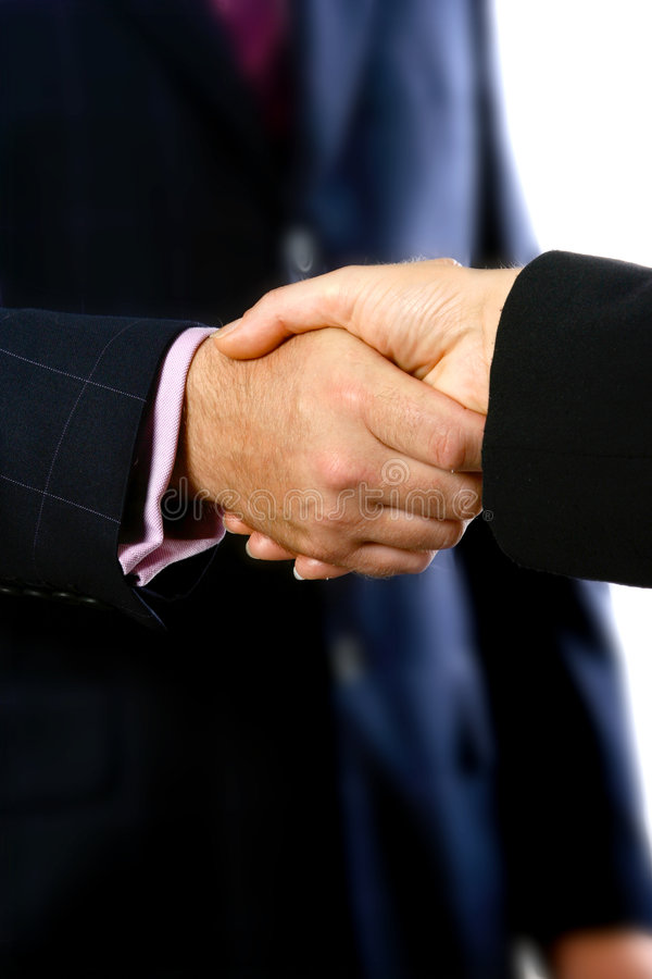 Secured with a handshake royalty free stock photo