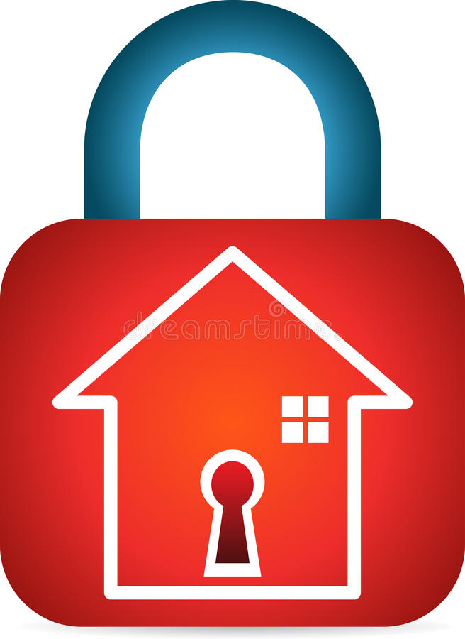 Secured home. A vector drawing represents secured home design royalty free illustration