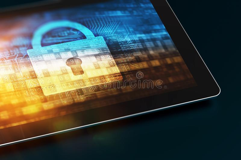 Secured Mobile Device. Tablet Computer with Security Concept on the Screen. Closed Padlock Concept. Mobile Technology Security stock image