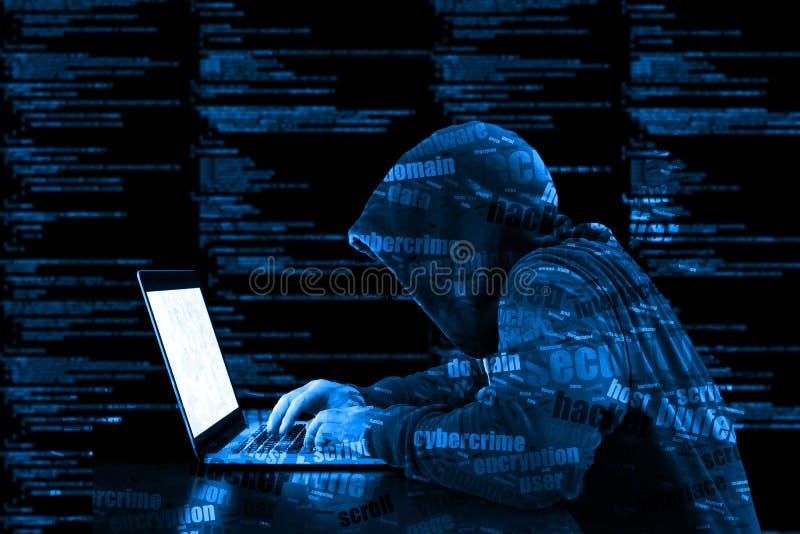 Securi azul da informação do código de computador do cybersecurity do hacker de Hoody ilustração stock