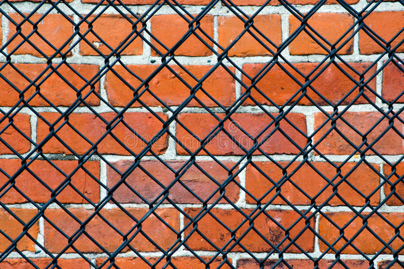 Download Security- Brick Wall And Fence Stock Image - Image: 28151043