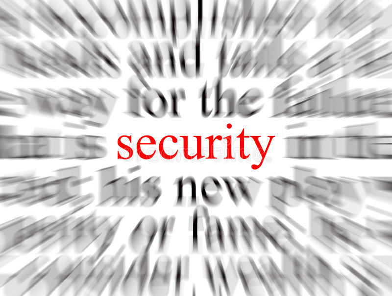 Security. Blurred text with a focus on security