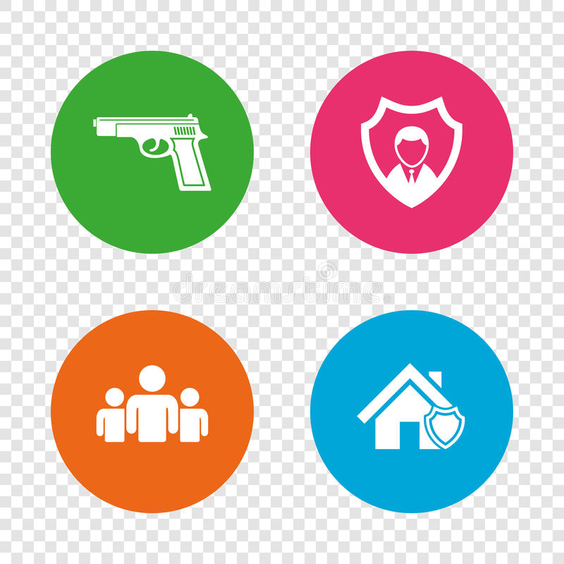 Security agency icons. Home shield protection. royalty free illustration