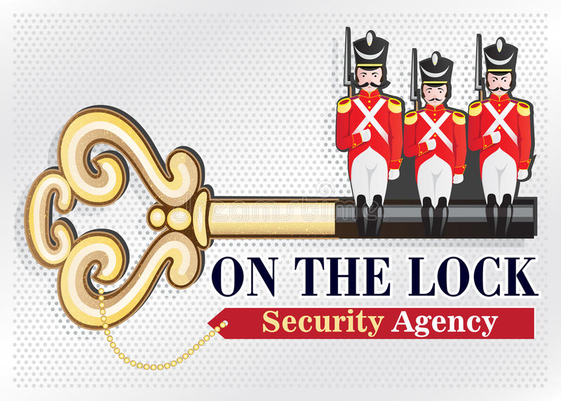 Security Agency LOGO. Creative illustration of a logo or emblem of the security organization consisting of an old golden key with the teeth in the form of a vector illustration