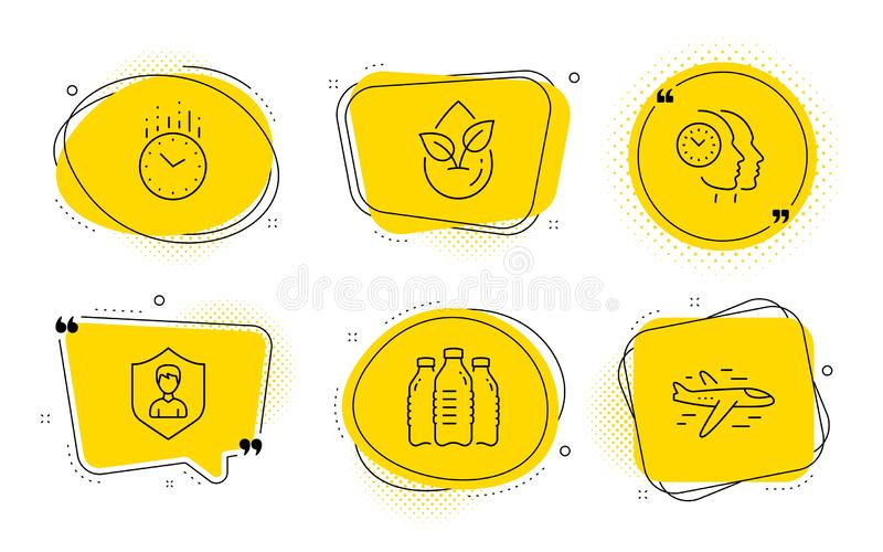 Security agency, Water bottles and Time management icons set. Time, Organic product and Airplane signs. Vector. Time, Organic product and Airplane signs. Chat royalty free illustration