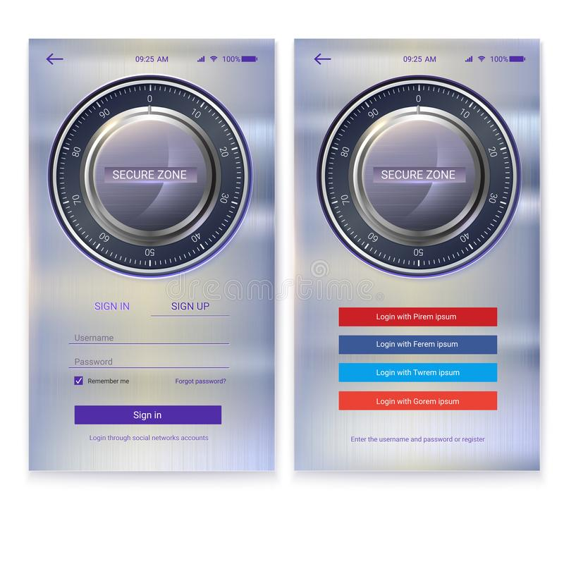 Security application UI design on metal background. Account authorization, interface for touchscreen mobile apps. Entrance via login, password. UX Screen with vector illustration