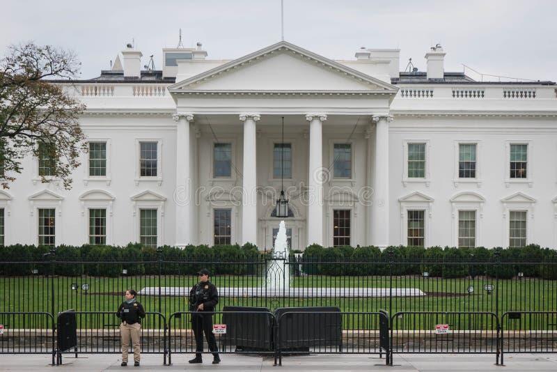 White house border security, overcast stock image