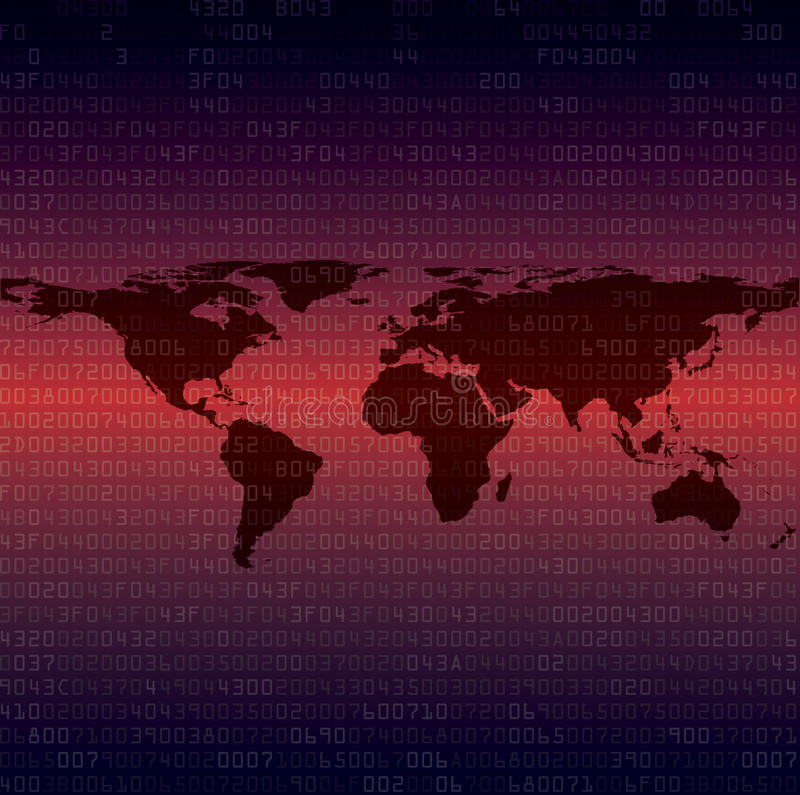 Security background with HEX-code. Abstract security background with HEX-code with map of world. Vector illustration royalty free illustration
