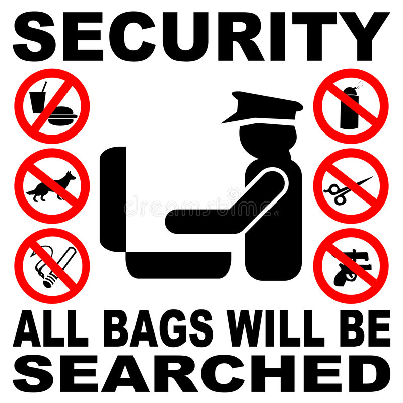 Security bag search sign stock illustration