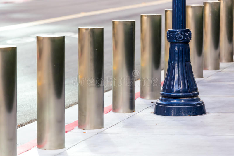 Security Barriers. Steel security barriers on the street royalty free stock image