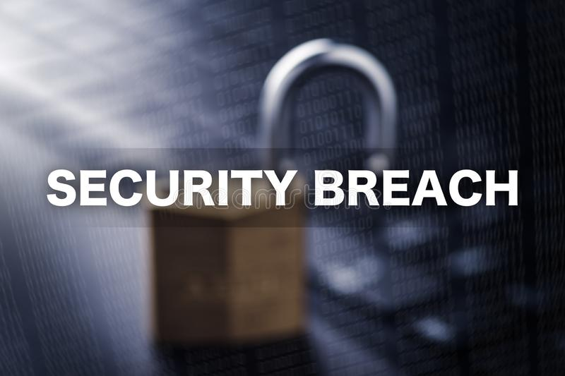 Security breach. Banner Security Breach - Text Security Breach on blurry background royalty free illustration
