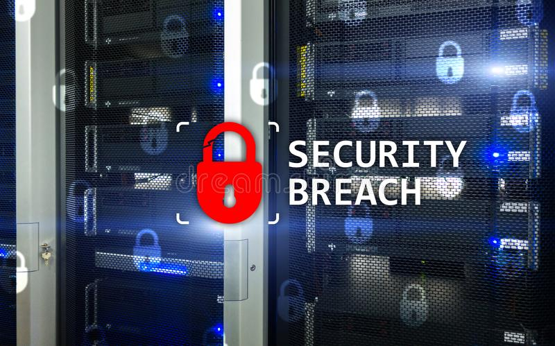 Security breach detection, Cyber protection. Information privacy stock photography