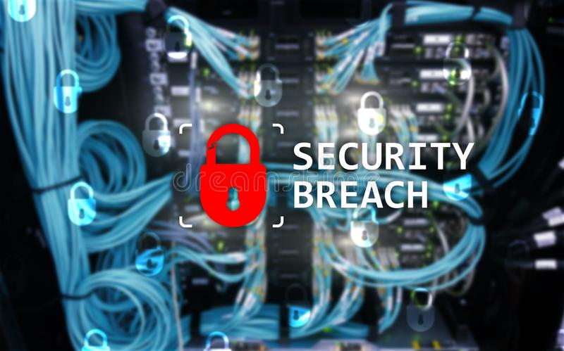 Security breach detection, Cyber protection. Information privacy stock images