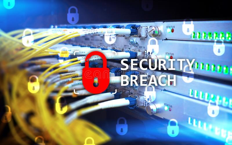 Security breach detection, Cyber protection. Information privacy stock image