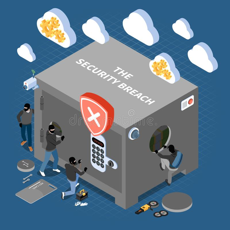 Security Breach Isometric Composition. With masked robbers entering into house stylized as large safe vector illustration royalty free illustration