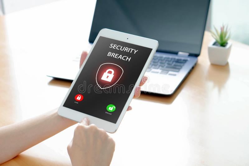 Security breach, smartphone infected by internet virus. Security breach, smartphone screen, infected by internet virus royalty free stock images