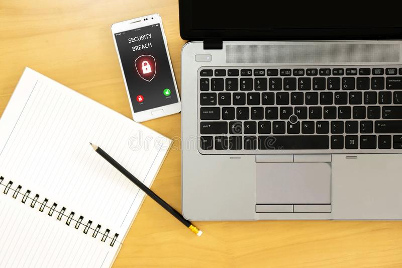 Security breach, smartphone screen, infected by internet royalty free stock images