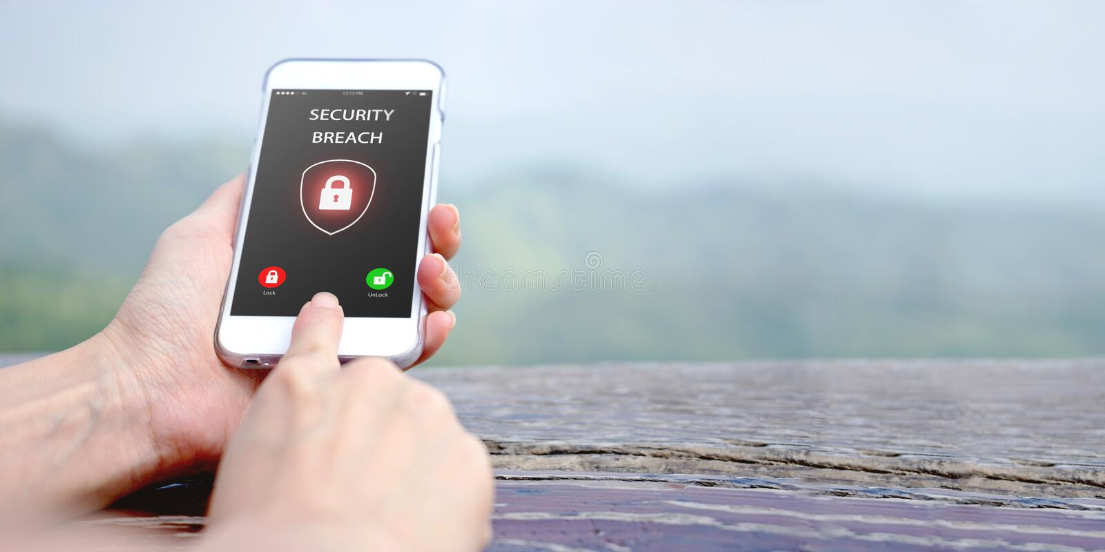 Security breach, smartphone screen royalty free stock image