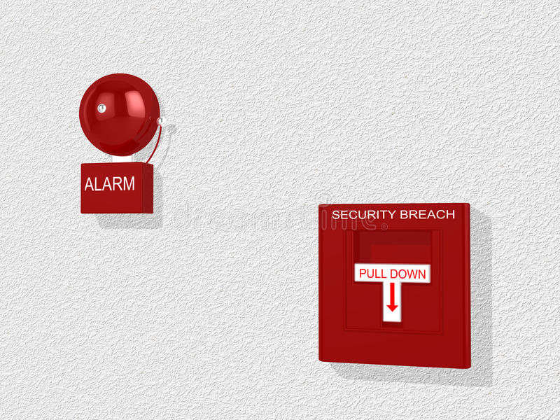 Security breach warning siren and alarm switch. Red security breach alarm switch with pull down lever and a siren attached to a white wall 3D illustration vector illustration