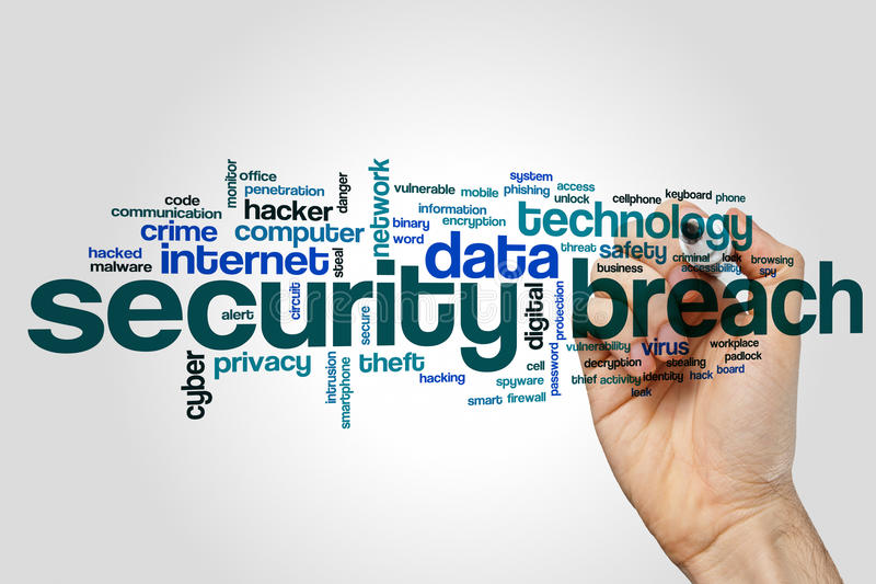 Security breach word cloud. Concept royalty free stock image