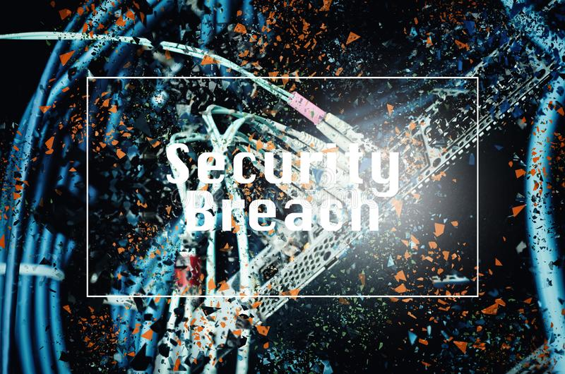 SECURITY BREACH word concept over shattered effect background. For Internet and network concept stock photos