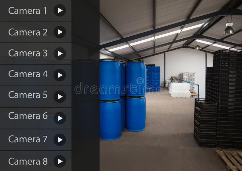 Security camera App Interface warehouse. Digital composite of Security camera App Interface warehouse royalty free illustration